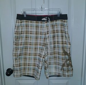 American Eagle men's plaid swim shorts